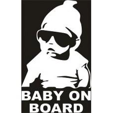 """вырез. """"baby on board"""" (белый)"""