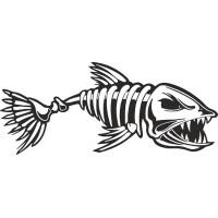 """наклейка вырез. """"Рыба (скелет)"""" (черный)"""