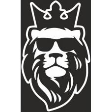 """наклейка вырез. """"Лев с короной №2"""" (белый), упаковка - 4 шт."""