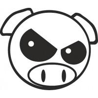 """наклейка вырез. """"subaru pig"""" (черный), упаковка - 4 шт."""