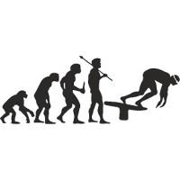 """вырез. """"Эволюция (пловец)"""" (черный), комплект - 2 шт."""