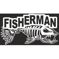 "наклейка вырез. ""FISHERMAN"" (белый)"