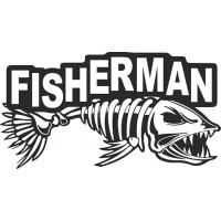 """наклейка вырез. """"FISHERMAN"""" (черный)"""