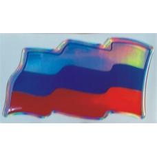 объем. RUS-флаг (развевающийся) голография, комплект - 2 шт.