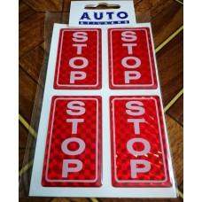 """наклейка объем. """"STOP"""" голографическая, упаковка - 4 шт."""