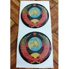 """наклейка объем. """"герб СССР (черный фон)"""", упаковка - 2 шт."""