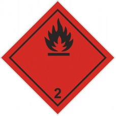 """наклейка """"Огнеопасно. Класс 2. Легковоспламеняющиеся газы"""""""