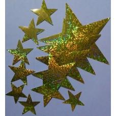 наклейка звезды (золото, голография), комплект (12 шт.)