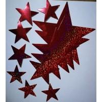 звезды (красный, голография), комплект (12 шт.)