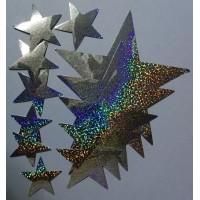 звезды (серебро, голография), комплект (12 шт.)