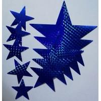 звезды (синий, голография), комплект (12 шт.)