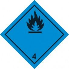"""наклейка """"Класс 4.3 Вещества, выделяющие легковоспламеняющиеся газы, в контакте с водой"""", упаковка - 3 шт."""