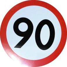 """наклейка """"Ограничение скорости 90"""", упаковка - 5 шт."""