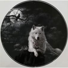 "наклейка ""Белый волк (луна)"""
